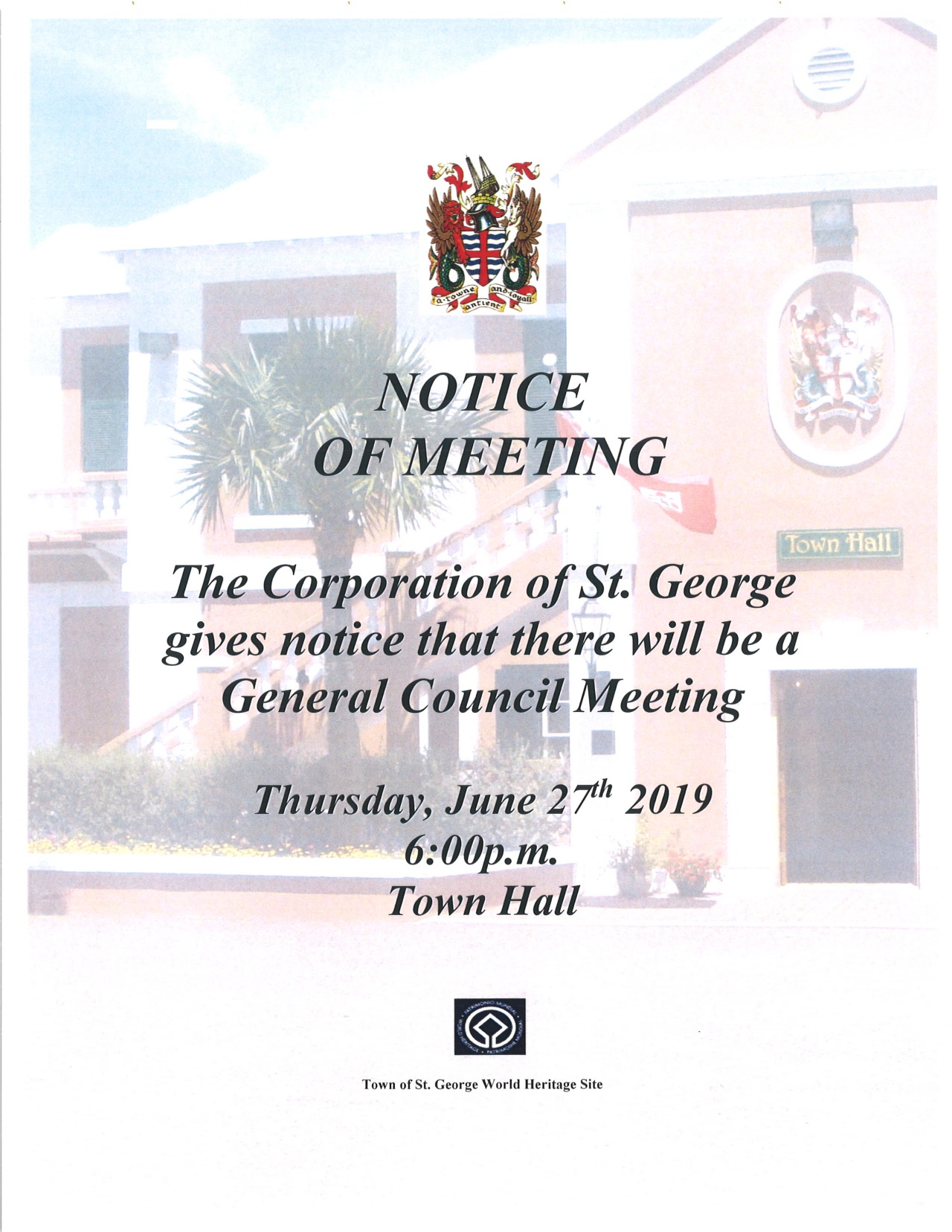 CORPORATION OF ST. GEORGE GENARAL MEETING - September 27th