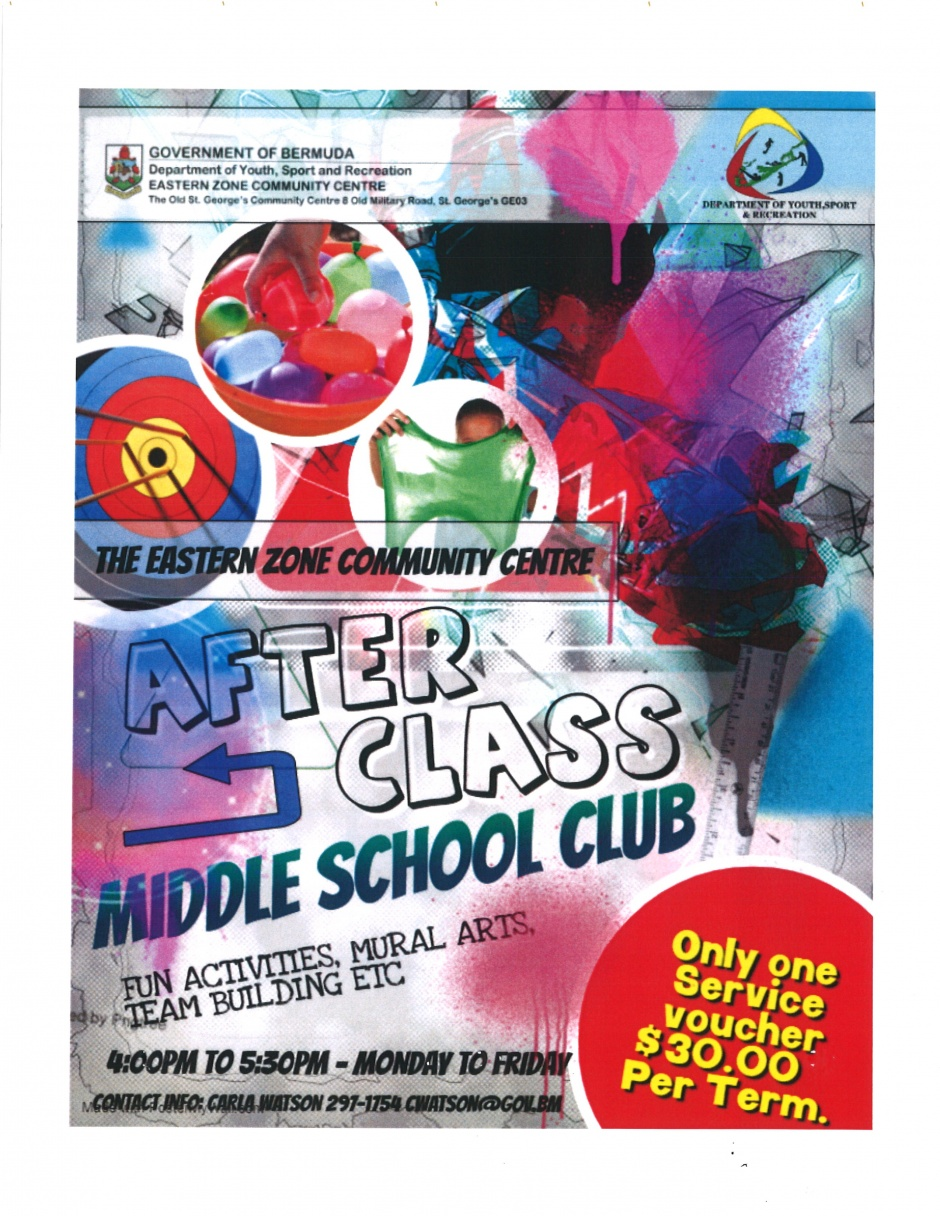 EASTERN ZONE COMMUNITY CENTRE - AFTER CLASS MIDDLE SCHOOL CLUB