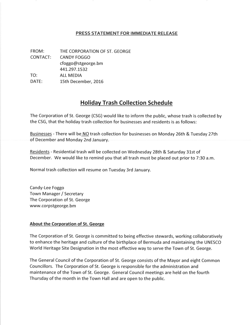 HOLIDAY TRASH COLLECTION SCHEDULE