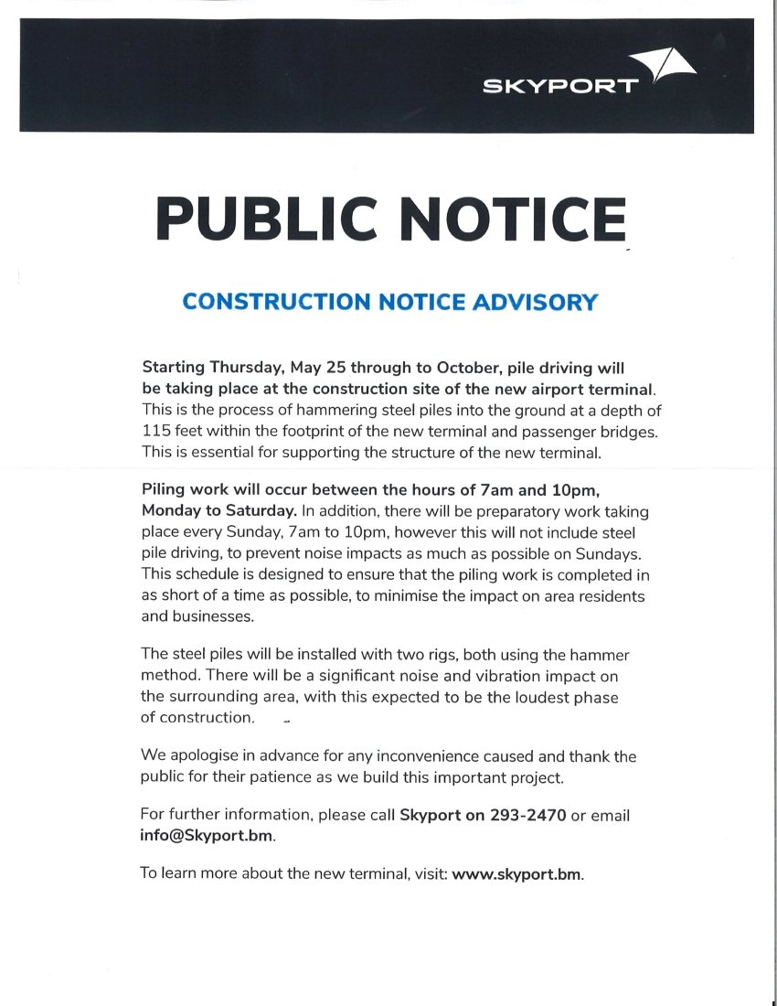 PUBLIC NOTICE REARDING CONSTRUCTION AT THE AIRPORT