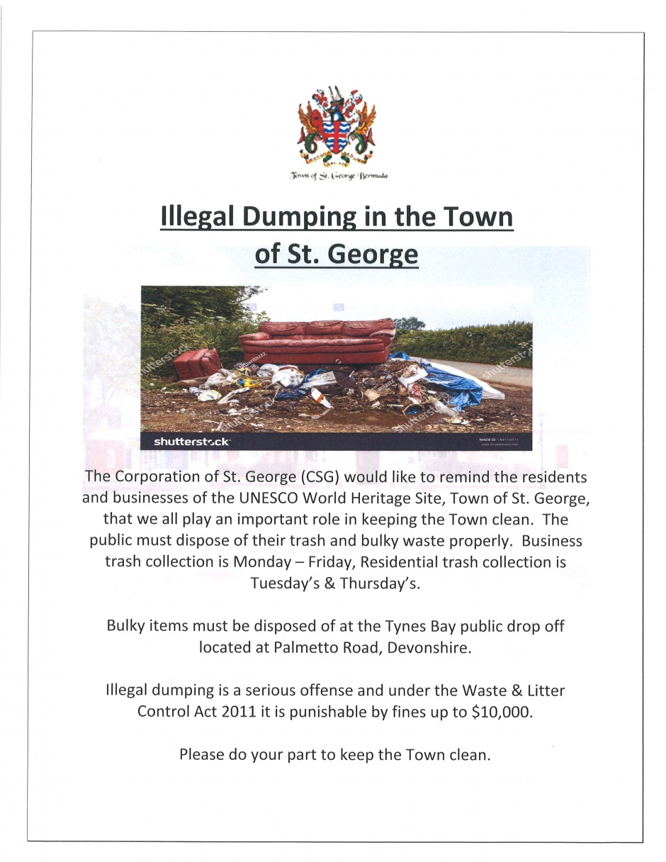 ILLEGAL DUMPING IN THE TOWN OF ST. GEORGE